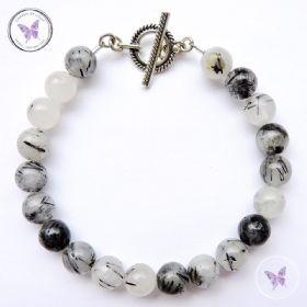 Tourmaline Quartz Healing Bracelet With Silver Toggle Clasp